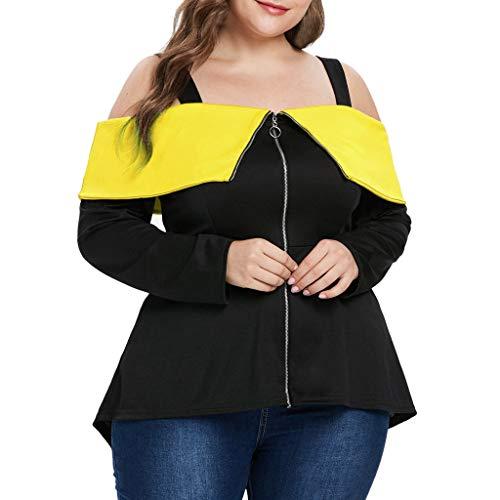 REALIKE Große Größe Frau Damen Casual aus der Schulter Pullover LangarmshirtEinfarbig Reißverschluss Oberteile Tops Sweatshirt Bluse