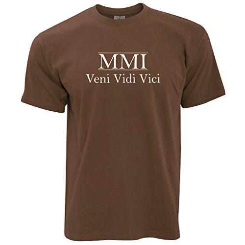 MMI Veni Vidi Vici Geburtsjahr 2001 16. Geburtstags-Geschenk-Geschenk-Andenken In der römischen Zahlen aus Herren T-Shirt Chocolate Brown
