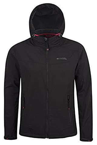 Mountain Warehouse Reykjavik Men's Soft-shell Jacket - Breathable, Water Resistant with Adjustable Fit & Chin Guard - Perfect for Light Showers & Everyday Use Black