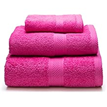 Sancarlos - Juego de 3 toallas YANAI, 100% Algodón, Color Fucsia