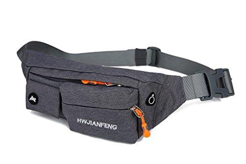 X2X Marsupio Impermeabile Sportivo con Foro Auricolare / Borsa da Cintura per l'esecuzione di Trekking Arrampicata Viaggiando Bicicletta (Nero) Grigio