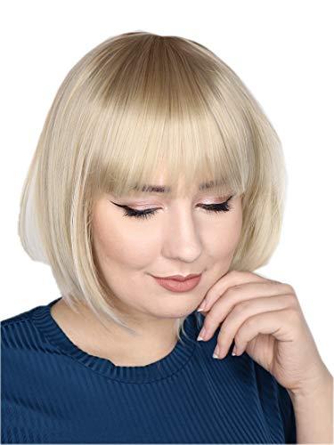 Prettyland matte natürliche kurze BoB Perücke Alltag Trendy Blond Platinum Ombre Verlauf C096 (Bob Blonde Halloween Perücke)