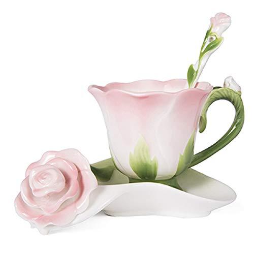 Huyhuy migliore tazza di tè e piattino da tè in ceramica con smalto fiore a forma di rosa 3d tazza di porcellana di alta qualità design creativo del regalo di san valentino