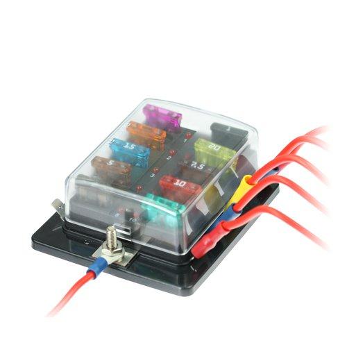 KFZ Sicherungshalter 10-fach mit Status LED für Flachstecksicherungen ohne Sicherungen Status Versand