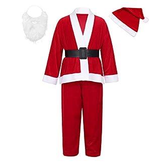 dPois 4PCS Conjunto de Navidad Christmas para Niño Niña Disfraz Infantil Unisex Traje Rojo de Papa Noel Manga Larga Tops + Pantalones + Sombrero + Bigote + Cinturón