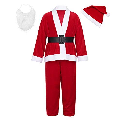 dPois Kinder Jungen Weihnachten Kostüm Rot Bekleidungsset Outfits Weihnachtsmann Kostüm Kleinkind Festzug Santa Cosplay Kostüm für Party Dress Up Gr.98-164 Rot 134-146/9-11 Jahre