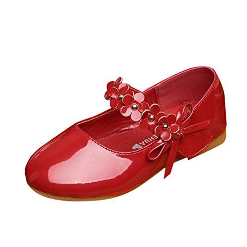 Mädchen Ballerinas Festliche Schuhe Lackschuhe mit Blumen Rot 30 (Rote Blumen-mädchen-schuhe)