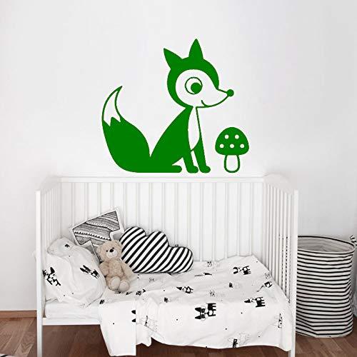 jiushizq Cute Fox Kinderzimmer Aufkleber Mädchen Jungen Schlafzimmer Wandkunst Aufkleber Decals Vinyl Modern Decor Home Wallpaper Tier Hot L 5 49 cm x 42 cm