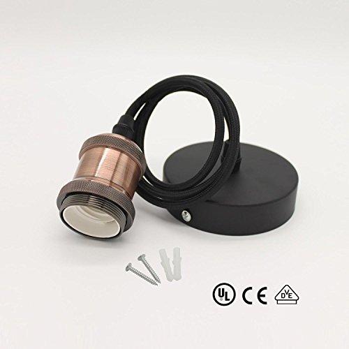 Diolumia - Suspension Douille en Métal Cuivre - Douille E27 60W Max. - Câble Textile Noir 1m - Monture électrique de suspension - Style rétro