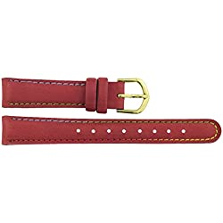 Watch Strap in Red PU - 14mm - - buckle in Gold stainless steel - B14RedItr69G