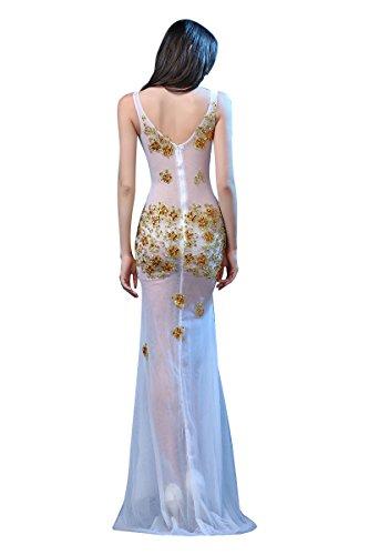 Beauty-Emily V-Ausschnitt See-Through Applikationen-Nixe Ohne Arm Abendkleider Gold