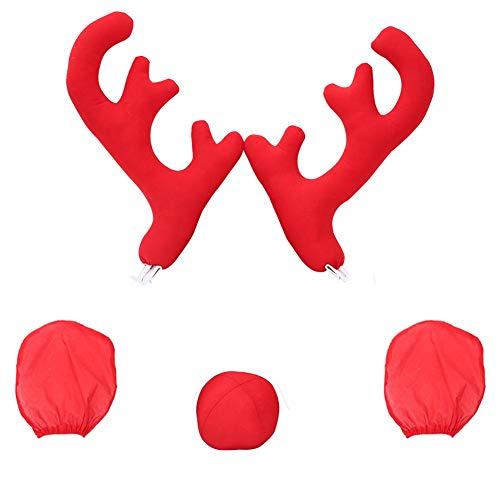 Große Fahrzeugkleidung Auto Geweih Dekoration 2 Geweih - 2 Rückspiegelabdeckung - 1 rote Nase 5Pcs Auto Weihnachten Rentier Geweih rote Nase