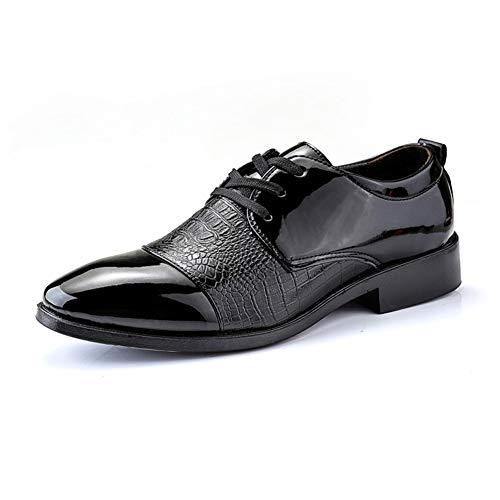 Apragaz Herren Business Oxfords Mode Leder Schnürschuhe rutschfeste Hochzeitsfestkleidschuhe des Komforts (Color : Schwarz, Größe : 40 EU) (Schuhe Cowboy-wingtip)