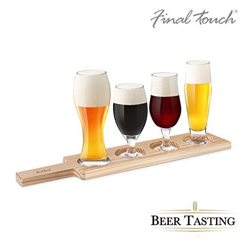 Geschenkbox 6 pièces Kit de dégustations bière bière Probe Tasting - 4 verres à bière différentes, plateau et instructions, verre & bois, 18,5 x 10 x 4,5 cm