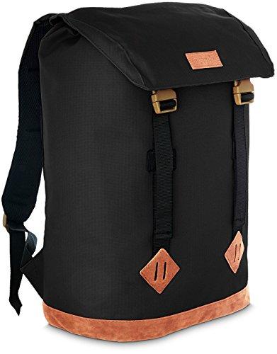 TRAVANDO ® Canvas Rucksack mit 15 Zoll Laptopfach | Backpack, Daypack für Alltag, Freizeit Schule Uni | Hipster Turnbeutel, Gepolsterter Retro Tagesrucksack Schulrucksack Herren Damen Jungen Mädchen