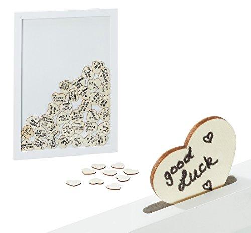 Bilderrahmen Wand-staffelei (3244 Bilderrahmen Gästebuch Hochzeit 30 x 42 cm in weiß mit 80 Herzen)