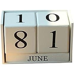 luzuzi creativo calendario de madera adorno de casa decoración del hogar oficina decoración de mesa de estudio (buy 1Get 2y # xFF09; art002, Blanco