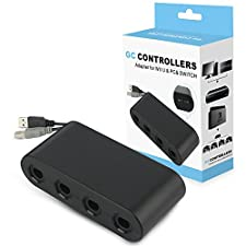 Gamecube Controller Adapter,Super Smash Bros GameCube NGC Controller Adapter for Wii u,Nintendo Switch,PC USB,4 Port Black Gamecube Adapter,No Driver Need