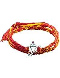 fourseven Red & Yellow Moli Bracelet with 925 Sterling Silver Ganesha Pendant for Men & Women