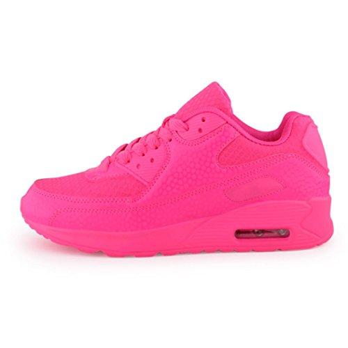 best-boots Unisex Damen Herren Sneaker Laufschuhe Turnschuhe Neu Neon-Pink (etwas kleiner)
