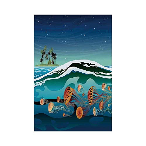 gthytjhv Jellyfish Decor Jellyfish in The Sea and Coconut Island Trees Waves Under Starry Night Sky Navy Mustard House Garden Family Event Decoratio