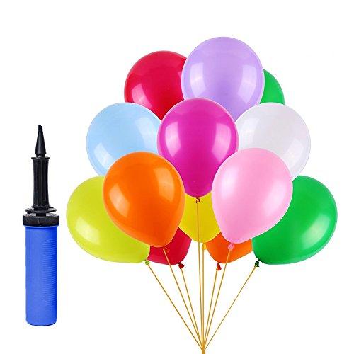 (100 Stück) Luftballons Bunt, Pumpe Luftballons Bunte Ballons Dekorationen für Party, Bunte Ballons Sortierte Farben für Geburtstag, Weihnachten, Hochzeit.