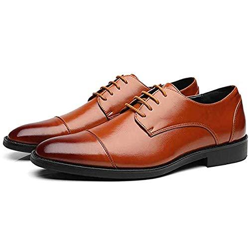 Felaaca Derby Schuhe Männer Oxford Schuhe Erwachsene Lace-up Kleid Schuhe Jungen Leder Klassischen Stil Hochzeit Büro Männlich Social Schuhe,Brown,42 (Jungen-brown-leder-kleid-schuhe)