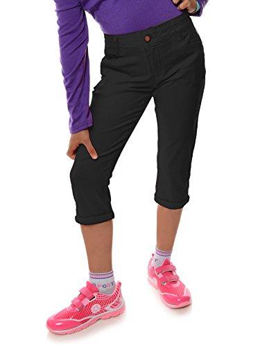 Mädchen Kinder Kurze Hose Strech Capri 3/4 Stoff Shorts Skinny 22142, Farbe:Schwarz, Größe:104