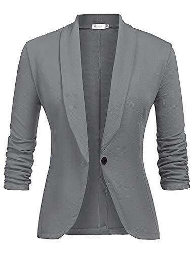 LaLaLa Blazer Jacke Elegant Freizeit Schlank Business Dünn 3/4 Längere Hülse Büro Jacken Knopf Anzug Damen Dunkelgrau L