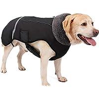 Eleoption - Impermeable caliente para invierno para perros, chaqueta chubasquero para exteriores, impermeable, reflectante, abrigo para perros pequeños, medianos y grandes. - 768U7686Y7UU, Medium, Negro