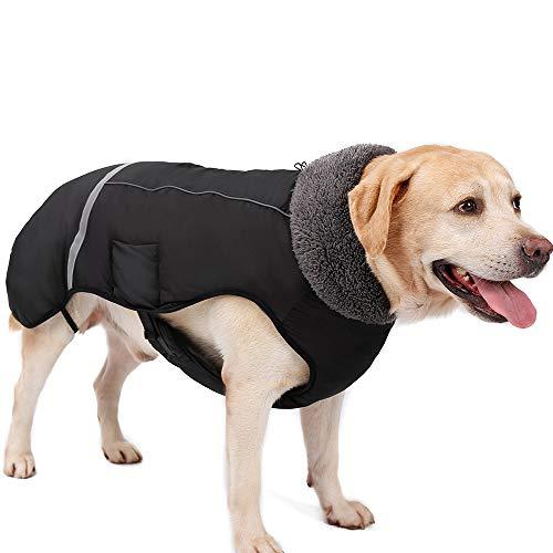 Eleoption - Impermeable caliente para invierno para perros, chaqueta chubasquero para exteriores, impermeable, reflectante, abrigo para perros pequeños, medianos y grandes. - UYYIU76667, XXL, Negro