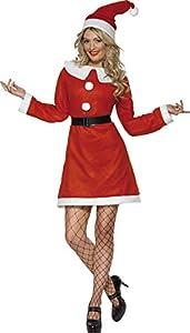 Smiffys-23171S Disfraz de Miss Santa, con Vestido, cinturón y Gorro, Color Rojo, S-EU Tamaño 36-38 (Smiffy
