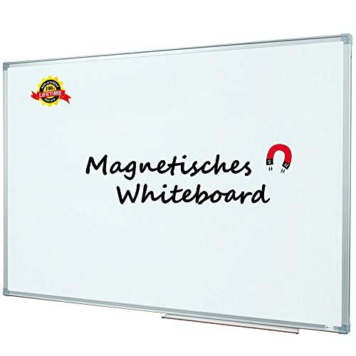 Lockways Whiteboard - Magnetisch Stabiler Tafel - praktische Weißtafel 60 x 90 cm, silbrig Metall Rahmen für Schule, Wohnung und Büro