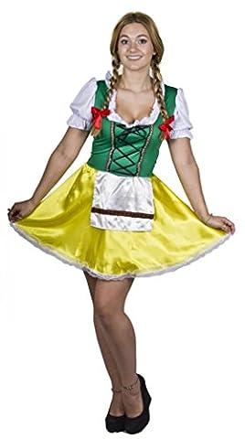 Alsacien Costume - Déguisement de femme Bavaroise verte et jaune