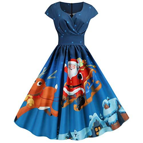 TIMEMEAN Kleider Damen Lang Evening Party Prom Elegant Weihnachten Kurzarm Vintage 1950S Slim Fit Kleid