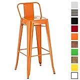 CLP Tabouret de Bar en Métal Mason - Tabouret de Bar Industriel Dossier et Repose-Pied - Chaise de Cuisine ou Bar Design Confortable - Couleur: Orange