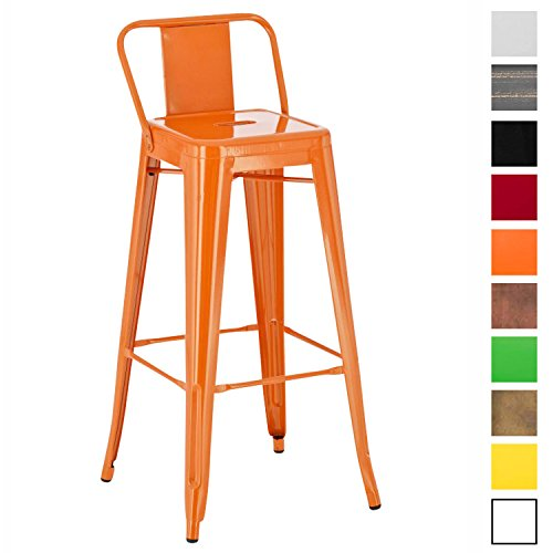 CLP Tabouret de Bar en Métal Mason - Tabouret de Bar Industriel Dossier et Repose-Pied - Chaise de Cuisine ou Bar Design Confortable - Couleur: Orange