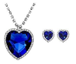 Shining Diva Crunchy Fashion Gold Plated Blue Pendant Set for Girls (FPER018)