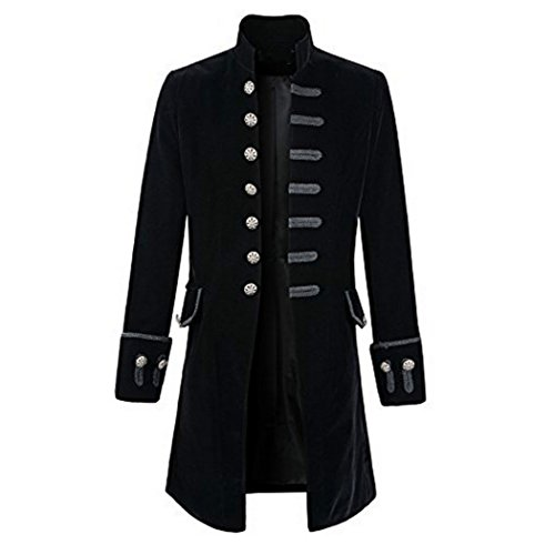 MIOIM Punk Jacke Steampunk Gothic Langarm Jacke Retro Mittellang Mantel Kostüm Cosplay Uniform für Männer (M, Schwarz)