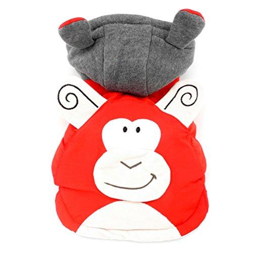 smalllee _ Lucky _ store Affe Kostüm Kapuzenanorak mit Baumwollfutter Kapuzen Fleece Hundemantel, gefüttert, rot, groß (Affe-kostüm Niedliche)