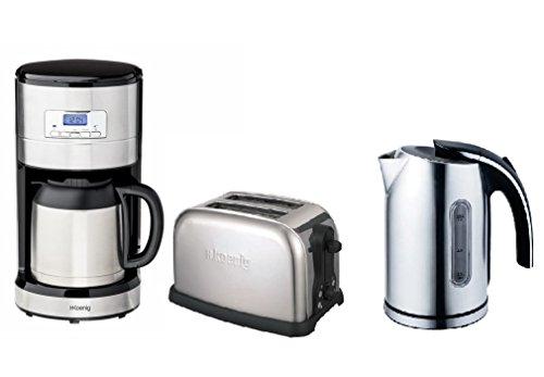 H.Koenig Edelstahl Frühstücks-Set: Kaffeeautomat mit Thermoskanne und Zeitschaltuhr + 1,7 Liter schnurloser Wasserkocher + 2-Scheiben-Toaster