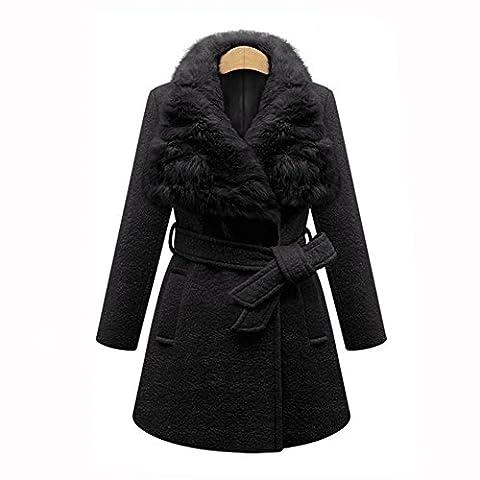 2017 Frau Wolle Jacke Damen Winter Warm Mode Taille Umgeschnallt Pelz Halsband Schlank Melton Jacken Mäntel Oben 80Store (L, (Schwarz Belted Wollmantel)