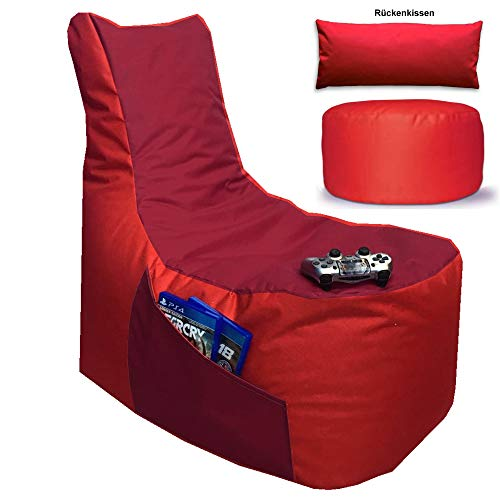 Sitzsack 3er Set Big Gamer Sessel mit EPS Sytropor Füllung - Rückenkissen - Hocker Sitzsäcke Sessel Kissen Sofa Sitzkissen Bodenkissen (Big Gamer Sitzsack 3er Set 2-farbig, Rot - Bordeaux)