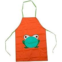 SODIAL(R) Impermeable ninos delantal de dibujos animados de la rana Impreso Cocina Pintura Nueva del nino lindo - Naranja
