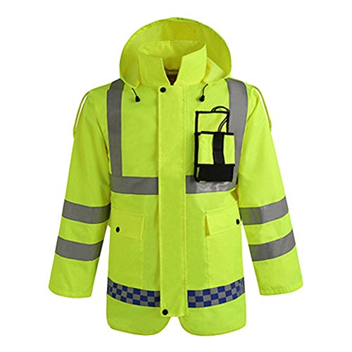 SK Studio Hohe Sichtbarkeit Erwachsenen Regenjacke Arbeit Regenanzug Wasserdicht Atmungsaktiv Reflektierend Sicherheitsjacke Warnschutz Regenbekleidung Neongelb 2 M