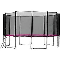 Gartentrampolin Trampolin 487 bis 490 cm in pink mit Sicherheitsnetz und Einstiegsleiter