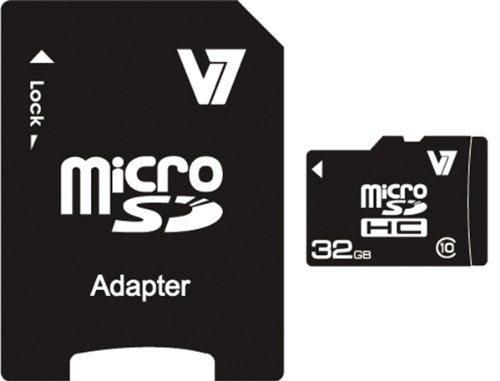 V7 MicroSDHC-Speicherkarte mit SD-Adapter Schwarz schwarz 32 GB
