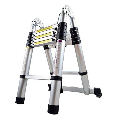 LARS360 3.8M Escalera telescópica Escalera multifunción Escalera extraíble Escalera de escalera Escaleras de uso múltiple Escalera de aluminio de alta calidad (3.8m, escalera plegable)
