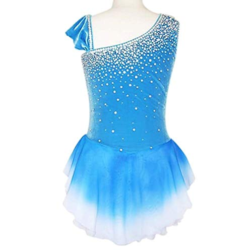YunNR Eiskunstlaufkleid für Mädchen/Kind Halo-Färben Asymmetrische Kurze Hülse Wettbewerb Eislaufen tragen Mode Strass Gymnastik Performance Kostüm,Blue,XXL (Kostüm Blue Halo)