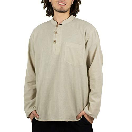 KUNST UND MAGIE Herren Fischerhemden bequemer Schnitt Klassische Farben in verschiedenen Größen, Größe:XL, Farbe:Naturfarben
